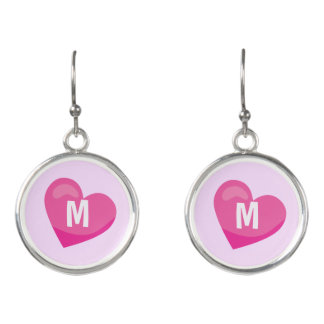Lilac and Pink Monogram hearts Earrings