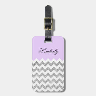 Lilac and Silver Faux Glitter Chevron Luggage Tag