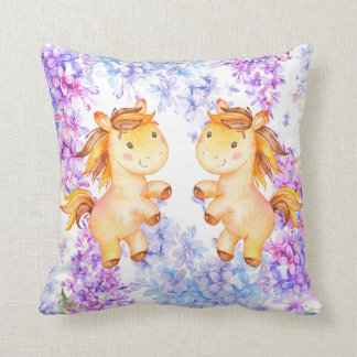 Lilac and Unicorn Polyester Throw Pillow