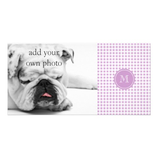 Lilac and White Gingham, Your Monogram Personalized Photo Card