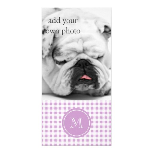 Lilac and White Gingham, Your Monogram Photo Card Template
