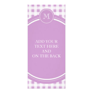 Lilac and White Gingham Your Monogram Customized Rack Card