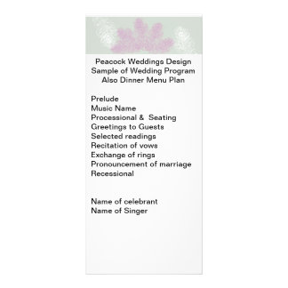 Lilac and White Peacock Feathers   Wedding Program Rack Card