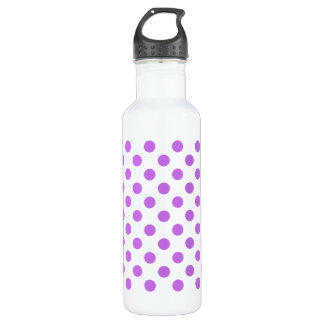 Lilac and white polka dots 710 ml water bottle
