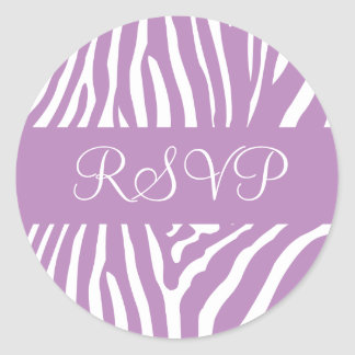Lilac and White RSVP Zebra Envelope Sticker Seal