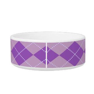 Lilac Argyle Pattern Cat Food Bowls