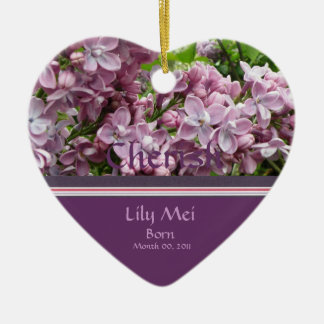 Lilac Birth Announcement Ornament