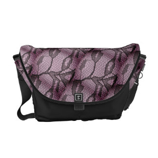 Lilac Black Lace Look Messenger Bag