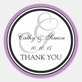 Lilac Black Monogram G Wedding Thank You Sticker