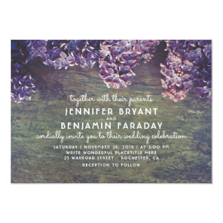Lilac Blooming Branches Rustic Wood Wedding Card