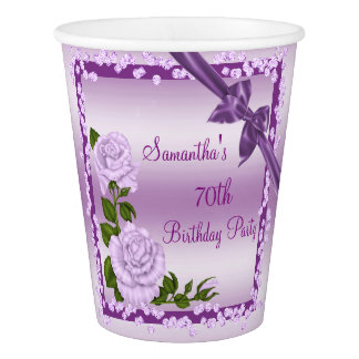 Lilac Blossom, Bows & Diamonds 70th Birthday Paper Cup