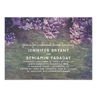 Lilac Blossoms Rustic Wood Rehearsal Dinner Card