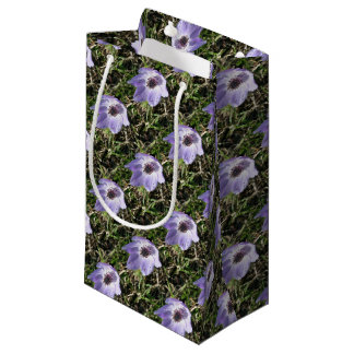 Lilac Blue Anemone Coronaria Wild Flower Small Gift Bag