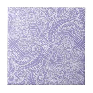 Lilac blue Floral twists Tile