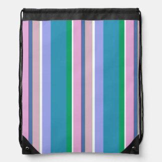 Lilac, Blue, Green, Pink, White Stripes Backpacks