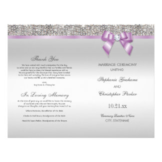Lilac Bow Silver Sequins Wedding Ceremony Program 21.5 Cm X 28 Cm Flyer