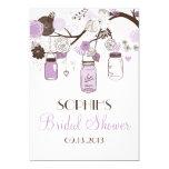 Lilac & Brown Mason Jars Bridal Shower Invitation 13 Cm X 18 Cm Invitation Card
