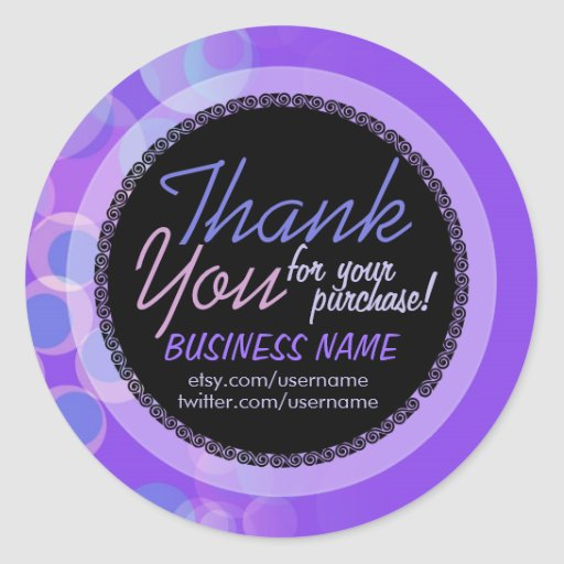 Lilac Bubbles Business Thank You Sticker