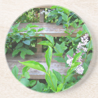 Lilac Bush and Flowers Growing through Wood Steps Coaster