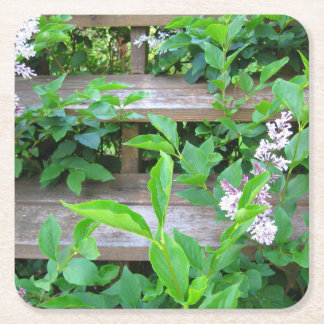 Lilac Bush and Flowers Growing through Wood Steps Square Paper Coaster