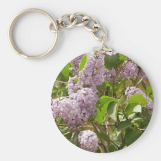 Lilac Bush Beautiful Purple Spring Flowers Basic Round Button Key Ring