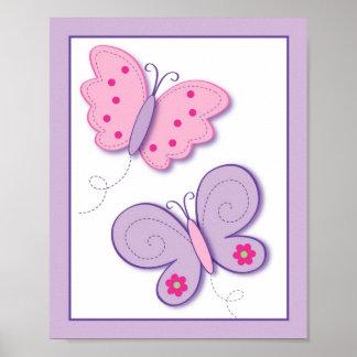 Lilac Butterfly Flower Nursery Wall Art Print