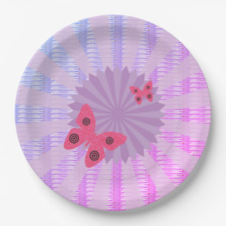 Lilac Butterfly Paper Plate For Kids Party 9 Inch Paper Plate