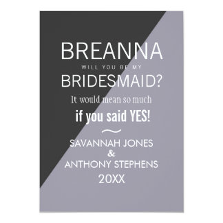 Lilac Charcoal Gray Two Tone Bridesmaids Invites