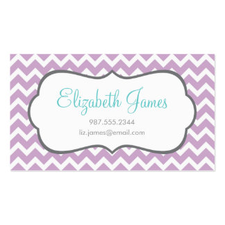 Lilac Chevron Business Card Templates