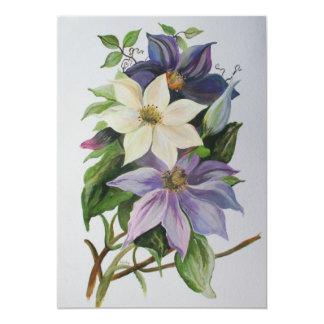 Lilac Clematis 13 Cm X 18 Cm Invitation Card