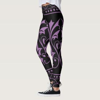 Lilac Color Floral-on Black Leggings