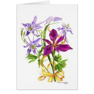 Lilac Columbines and Purple Beardless Iris Card