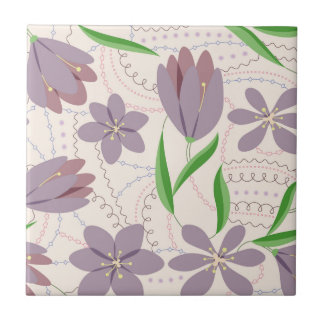 Lilac crocuses on ceramic tile
