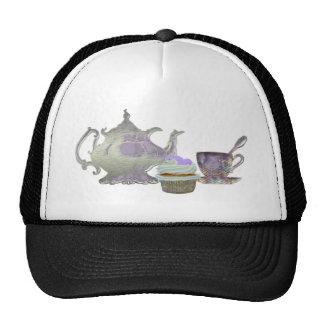Lilac Cupcake Hearts, Teapot and Teacup Art Cap