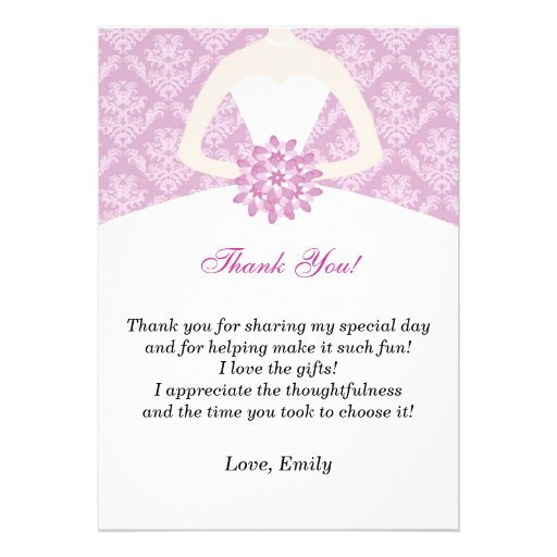 Lilac Damask Bridal Shower Flat Thank You Card
