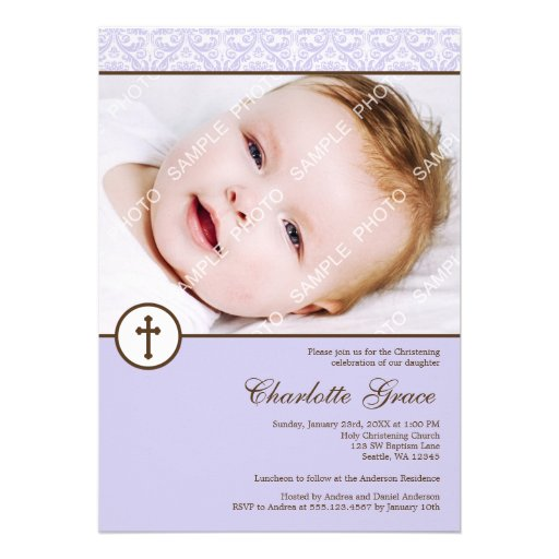 Lilac Damask Cross Girl Photo Baptism Christening Announcement