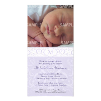 Lilac Damask Monogram Baptism/Christening Customized Photo Card
