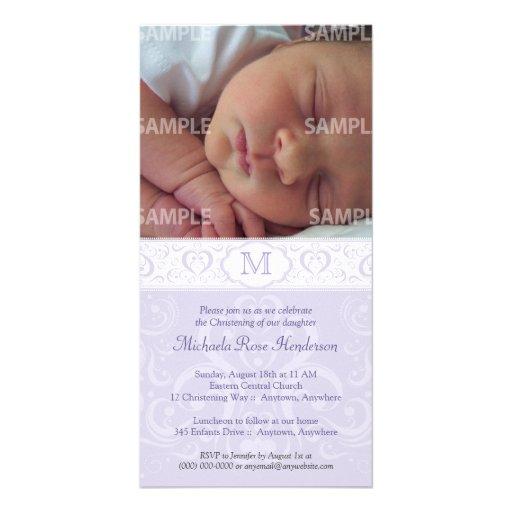 Lilac Damask Monogram Baptism/Christening Customized Photo Card