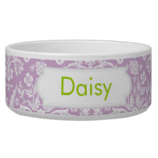 Lilac Damask Pet Water Bowls