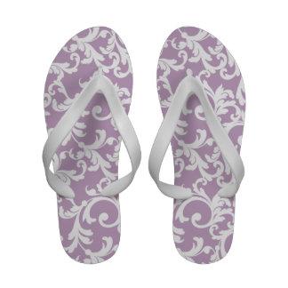 Lilac Damask Print Flip Flops