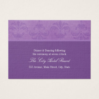 Lilac Damask Reception Enclosure Business Card