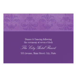 Lilac Damask Reception Enclosure Business Card Template