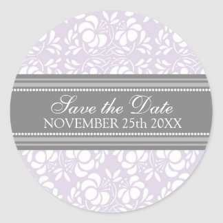 Lilac Damask Save the Date Envelope Seal Round Sticker