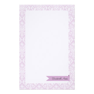Lilac Damask Stationery