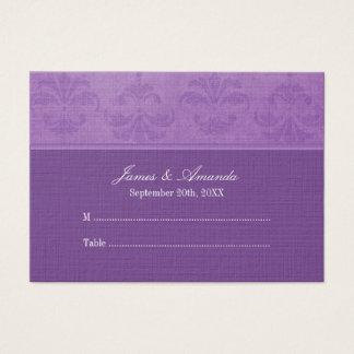 Lilac Damask Wedding Escort Business Card