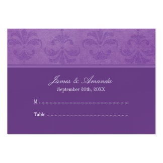 Lilac Damask Wedding Escort Business Card Template
