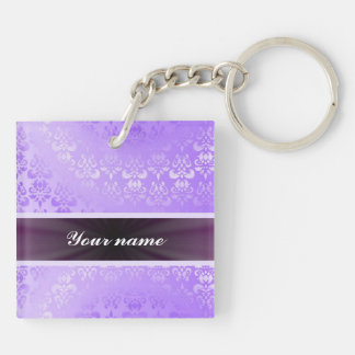 Lilac Damask with Ribbon Double-Sided Square Acrylic Key Ring