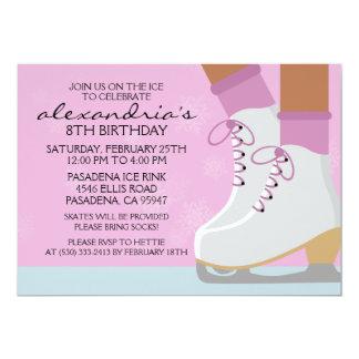 Lilac Dark Skin Skate Laces Ice Skating Party 13 Cm X 18 Cm Invitation Card
