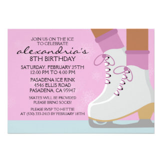Lilac Dark Skin Skate Laces Ice Skating Party Personalized Invites