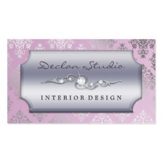 Lilac Dashing Damask Fashion/Interior Design Business Card Template